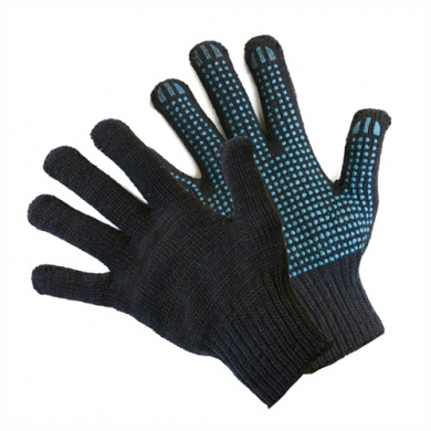 Перчатки вязаные с пвх 65г. черные