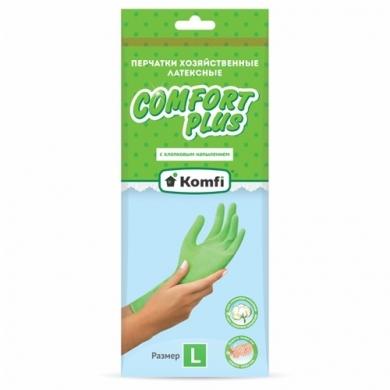 Перчатки хозяйственные латексные  с Х/Б напылением  ТМ Komfi «Зеленые»