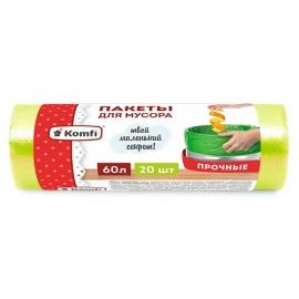Пакет мусорный ПНД в рулоне 60л/20шт-Зеленый