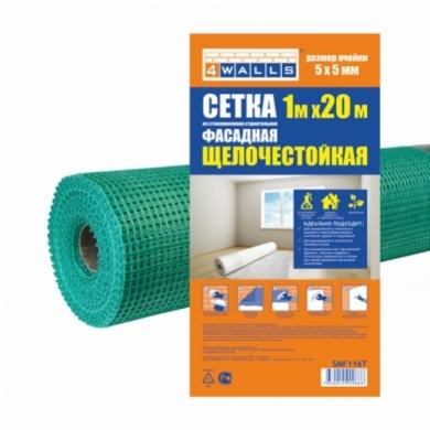 Сетка из стекловолокна строительная ФАСАДНАЯ зеленая 1000мм x 20м, 160 г/м2, 5 x 5, щелочестойкая 4Walls