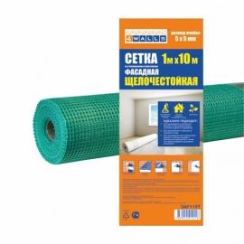 Сетка из стекловолокна строительная ФАСАДНАЯ зеленая 1000мм x 10м, 160 г/м2, 5 x 5, щелочестойкая 4Walls