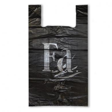 Пакет майка ПНД (Черная) 32см+18см*57см с надписью Fa