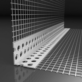 Уголок пластиковый перфорированный 23*23  с сеткой 10см x 15см, 2,5м