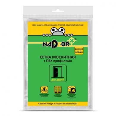 Сетка москитная с пвх профилями для дверных проемов,1,5*2 м  белая в пакете Nadzor